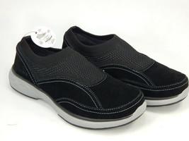 Ryka Talia Sz US 5.5 M EU 35.5 Women's Leather Stretch Knit Slip-On Shoes Black - $33.65