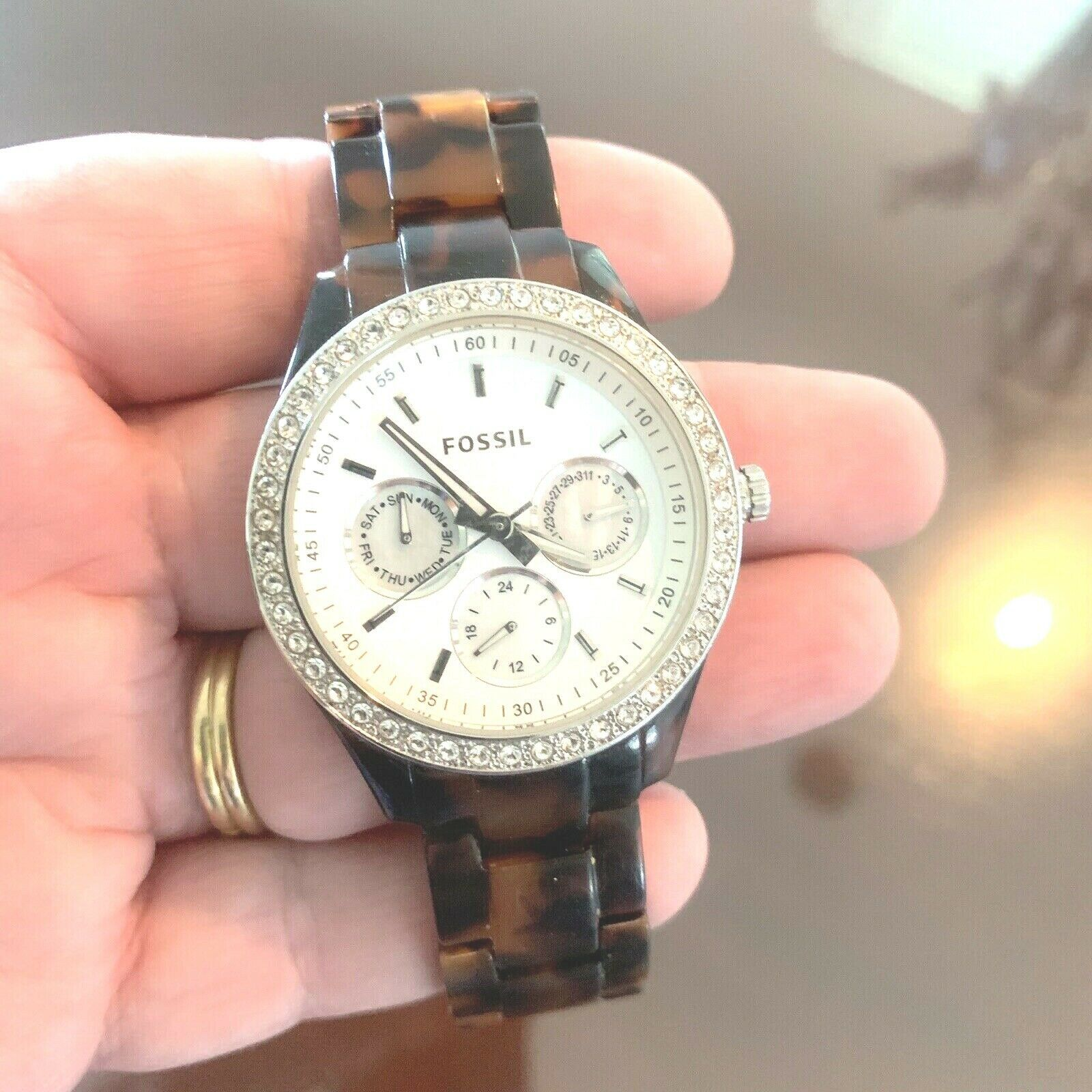 FOSSIL Ladies Brown Tortoise Shell Multifunction Watch NEW BATTERY