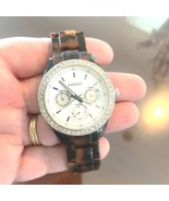 FOSSIL Ladies Brown Tortoise Shell Multifunction Watch NEW BATTERY - $59.35