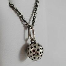 925 Sterling Silver Necklace Burnished Pendant Ball Golf Made in Italy image 2