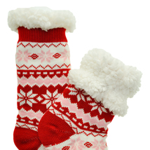 Urban-Peacock Plush Knitted Fleece Sherpa Lined Slipper Socks-Fair Isle-Red - $10.95
