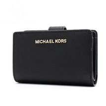 Michael Kors Jet Set Travel Bifold Zip Coin Wallet Leather Black Gold NWT - $79.19