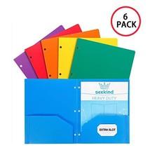 Folders with Pockets, SEEKIND Heavy Duty Plastic 2 Pocket folders, Plastic folde