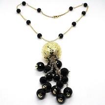 Collier Argent 925, Jaune, Grand Sphère Tricotée, Chute Onyx Noir image 1