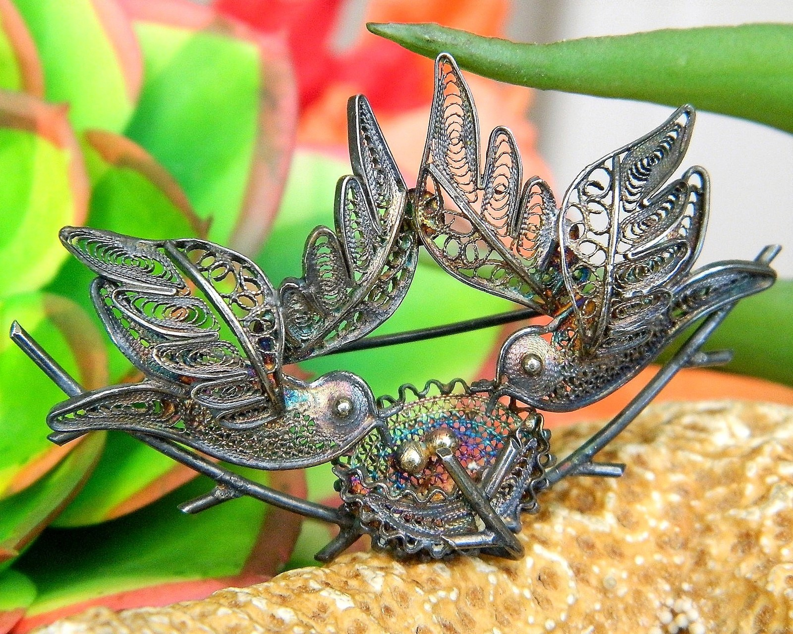 Primary image for Vintage Filigree Duet Two Birds Flying Nest Eggs 800 Silver Brooch Pin