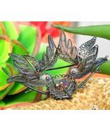 Vintage filigree duet two birds flying nest eggs 800 silver brooch pin thumbtall