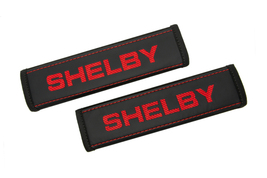 Ford Shelby Black Leather Seat Belt Covers / Logo Embroidery Shoulder Pads - $45.00