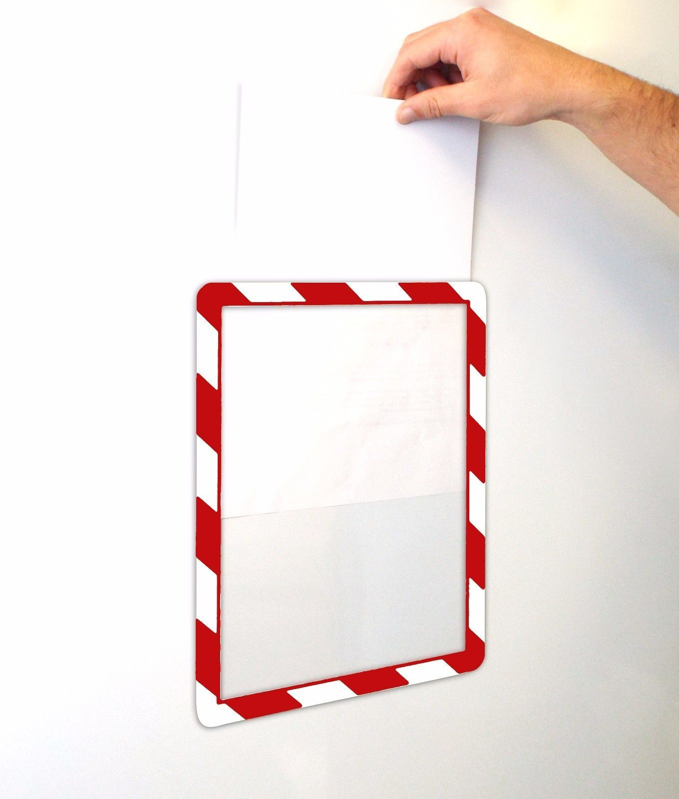 A4 Hazard Warning Striped Picture Frame 12 x 8 Photo Document Display Holders