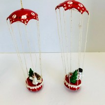 Vintage Mini Wooden Christmas Ornaments Parachute Angel and Snowman Lot ... - $18.85