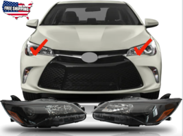 Fit For 2015 2016 2017 Toyota Camry LE SE Headlights Headlamps Black Hou... - $186.99