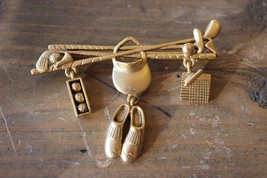 Gold Tone Danecraft Golf Brooch Clubs, Tees, Shoes, Hats, Balls - $7.12