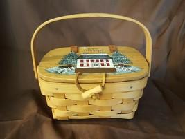 Longaberger 1997 Kiddie Purse Basket Attached HAPPY HOLIDAYS Custom Lid - $24.00