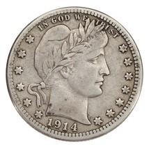 1914-s 25c Barber Quarter Fino + Estado,Todo Natural Color,Completo Bold Liberty - $389.52