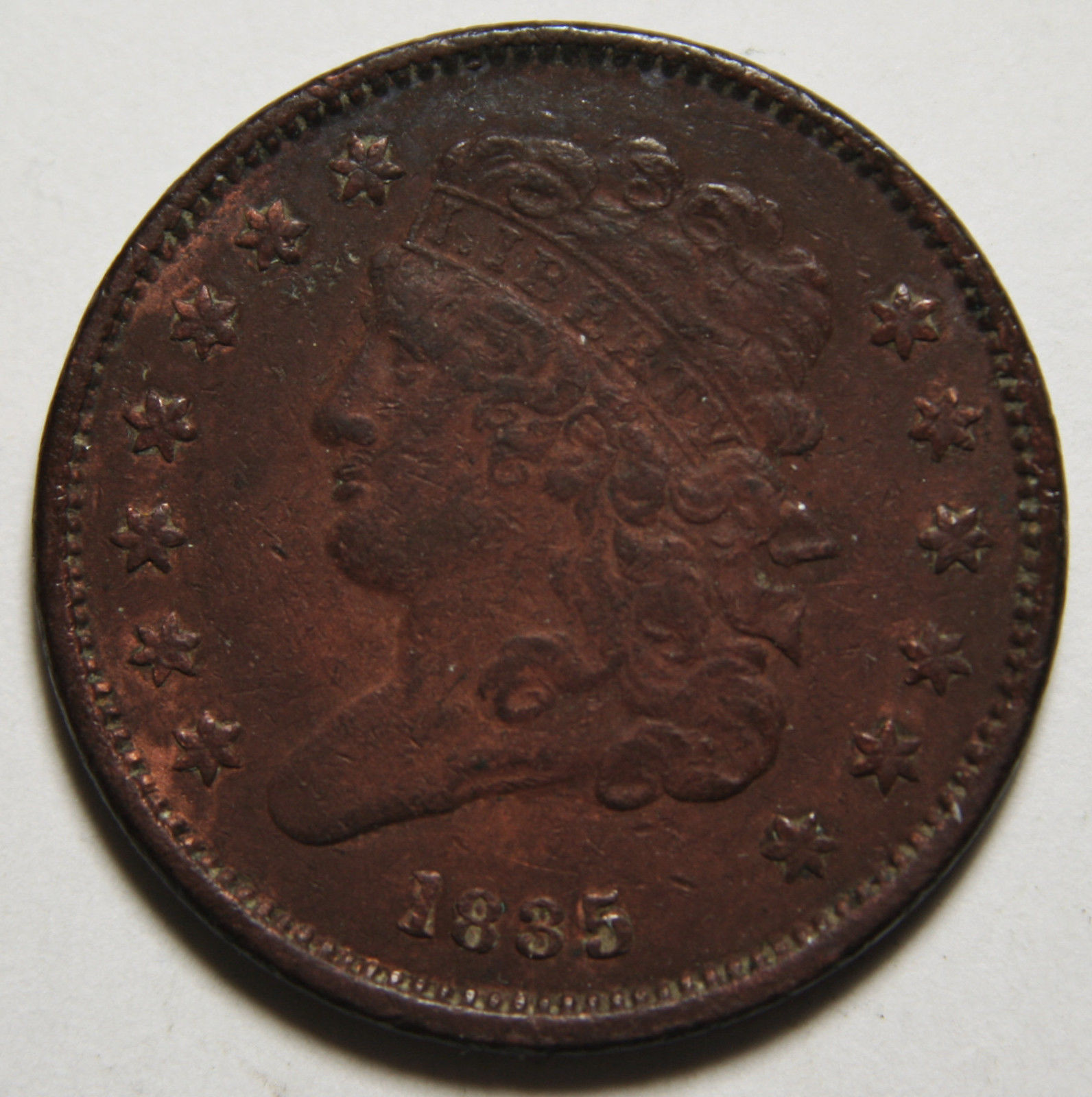 1835 Classic Bust Half Cent 1/2 Coin Lot # MZ 3457