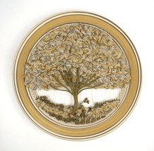 Earthy Circle Pottery Frame Shaggy Wool Woven Tree Wall Art Home Decor H... - $113.84