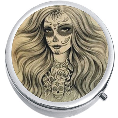 Primary image for Dia De Los Muertos Girl Skull Medicine Vitamin Compact Pill Box