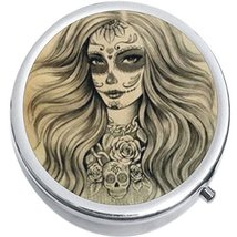 Dia De Los Muertos Girl Skull Medicine Vitamin Compact Pill Box - $9.78