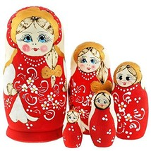 Authentic Russian Hand Painted Handmade Russian Red Nesting Dolls Set of... - $39.19