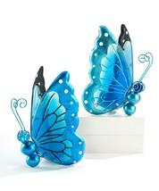 Set of 2 Blue Solar Light Up Butterfly Design Garden Lights  - Glass & Metal