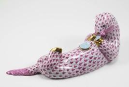 Herend Porcelain Sea Otter Figurine, VHP---15364, Raspberry Fishnet - $345.00