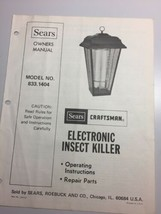 Sears Craftsman Owners Manual Electronic Insect Killer Model 833.1404 Vintage  - $9.46