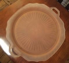 Pink Glass Platter Easter Serve Anchor Hocking Mayfair Depression Froste... - $24.95