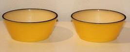2 Anchor Hocking FIRE KING Yellow & Black Band small Bowl Set - $19.75