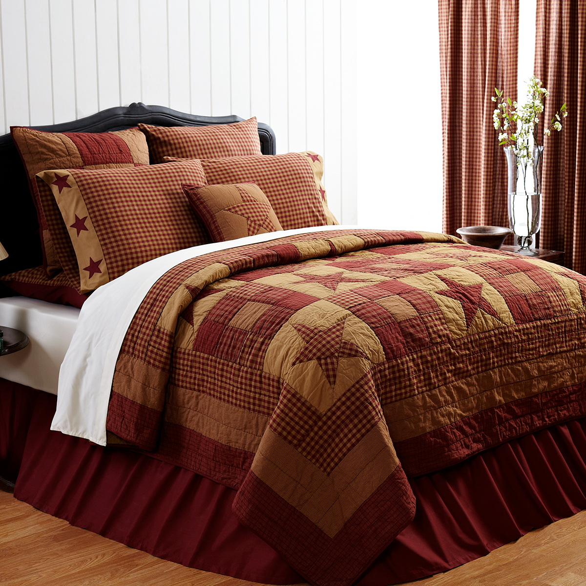 4-pc King Classic Ninepatch Star Quilt Set - King Quilted Shams - VHC Brands