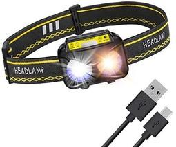 Rechargeable Headlamp LED Flashlight, GZMWON 6 Modes Waterproof Headlamp, USB Mo - $21.00