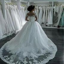Wedding Dresses Long Sleeve Boat Neck Button Appliques Ribbon Ball Gown image 4