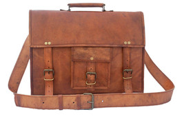 New Man's Genuine Office Soft Vintage Leather Formal Travel Laptop Messe... - $49.65