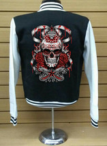Varsity Collage Baseball BLACK/WHITE Fleece Jacket With Day Of The Dead Skull - $29.99