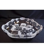 Mikasa glass bowl Christmas Carolers frosted & clear hearts clouds on si... - $12.55