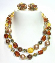 Large Vendome Beaded Bib Mixed Media Crystal & Lucite Browns Yellows Necklace + - $100.00