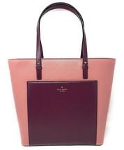 NWT Kate Spade Grand Street Sadie Colorblock Leather Tote Pastel Pink / Burgundy - $119.99