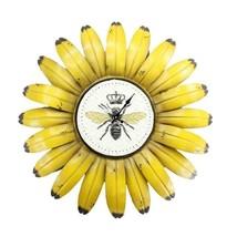 """19"""" Diameter Yellow Sunflower Bumble Bee Design Metal Wall Clock Indoor Outdoor"""