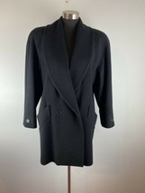 Vintage Jones New York Cocoon Coat M Medium Black 100% Wool Big Shoulder... - $44.54