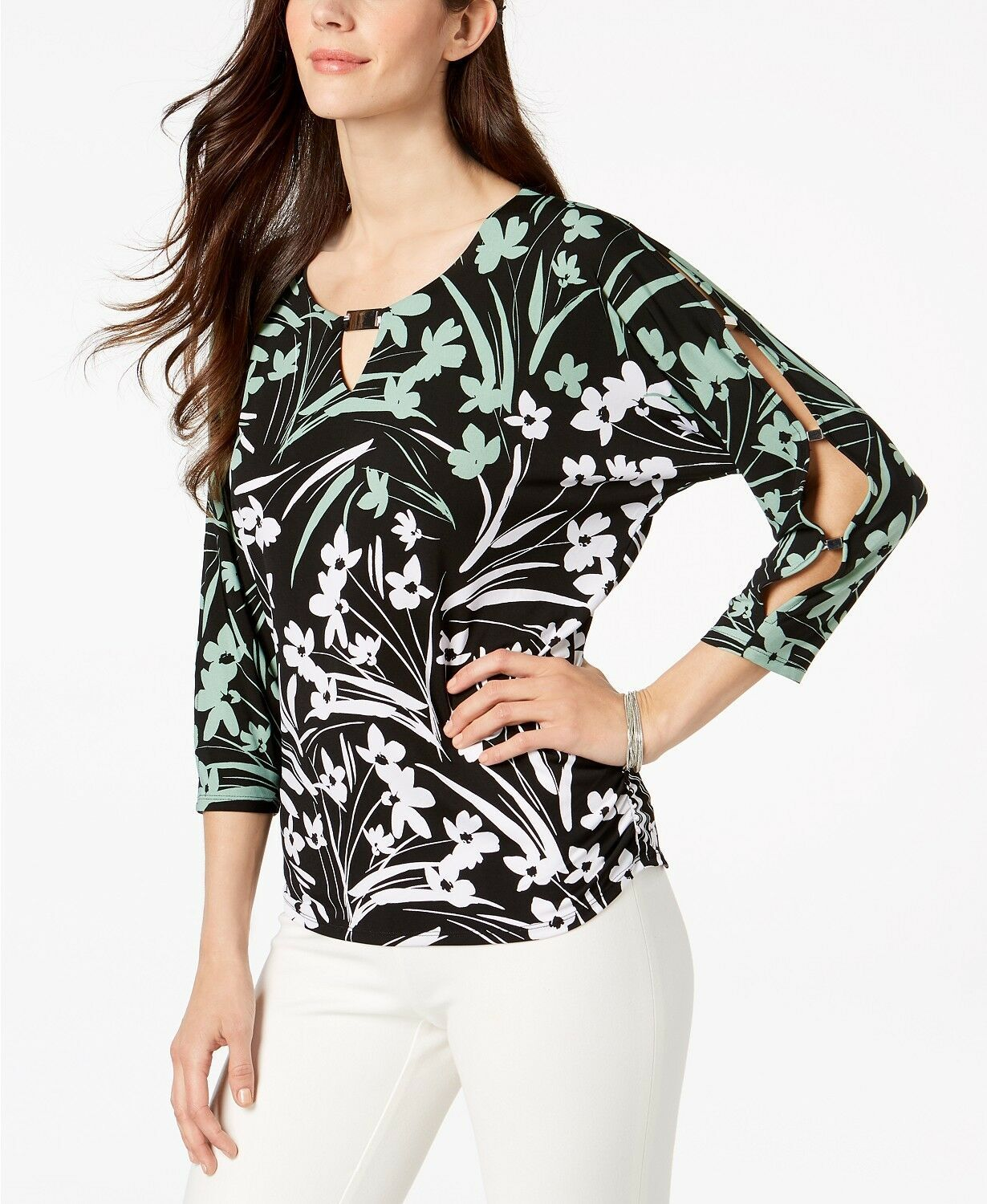 New JM Collection Printed Dolman-Sleeve T Shadow Blossom Blouse Shirt Top PETITE