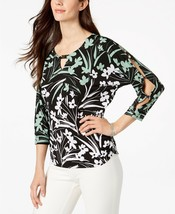 New JM Collection Printed Dolman-Sleeve T Shadow Blossom Blouse Shirt To... - $28.06