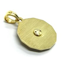 18K YELLOW GOLD ZODIAC SIGN ROUND 22mm DIAMOND PENDANT WIND COMPASS ZODIACAL image 6
