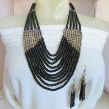 Vintage Runway Tribal Bold Black Wood Bead Bib Necklace & Earrings Silve... - $31.50