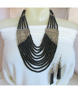 Vintage Runway Tribal Bold Black Wood Bead Bib Necklace & Earrings Silve... - $31.50