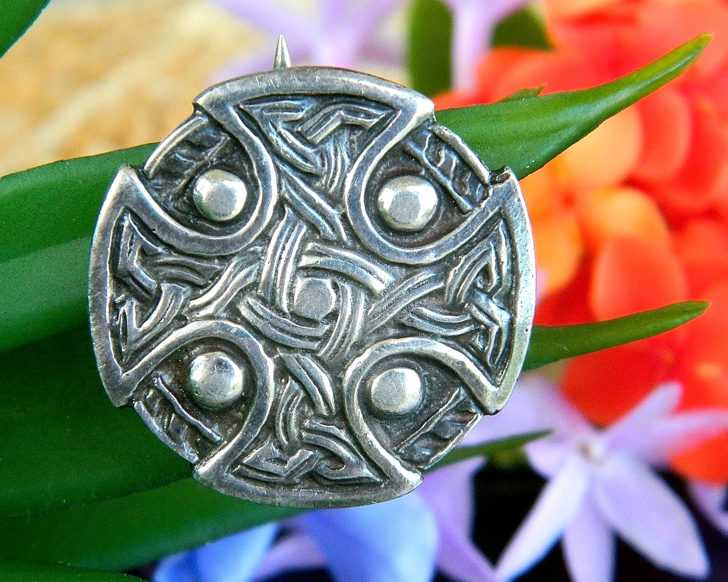 Primary image for Vintage Celtic Iona Cross Shield Knots Sterling Silver Brooch Pin WJS