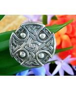 Vintage Celtic Iona Cross Shield Knots Sterling Silver Brooch Pin WJS - $79.95