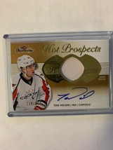 Tom Wilson 2013-14 Fleer Showcase Hot Prospect Rookie Auto patch card #1... - $14.50