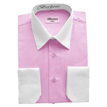 NEW BERLIONI ITALY MEN'S PREMIUM WHITE COLLAR & CUFFS TWO TONE DRESS SHIRT PINK