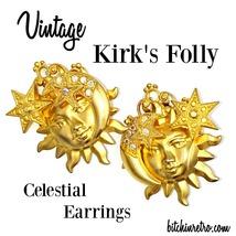 Kirk's Folly Vintage Rhinestone Earrings With Celestial Theme - $33.00