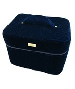 London Soho New York Beauty Vanity Makeup Bag Train Case Quilted Blue Ve... - $27.71
