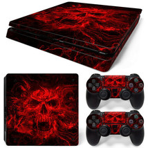 PS4 Slim Skin Console & 2 Controllers Red Skull Vinyl Decal Wrap - $13.83
