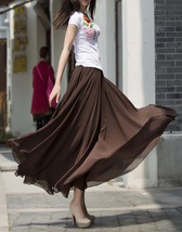 Women Chiffon Maxi Skirt Black White Brown Maxi Skirts Wedding Chiffon Skirt image 7